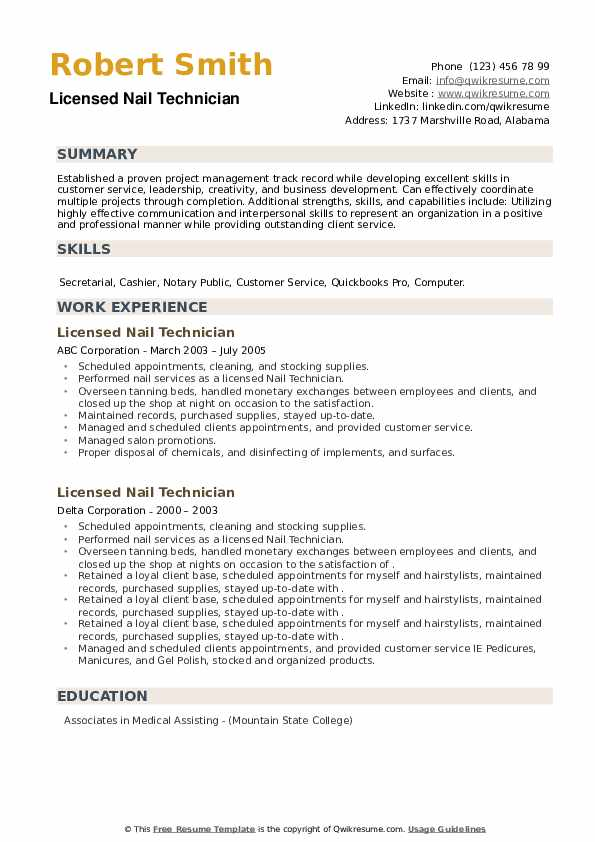 Licensed Nail Technician Resume example