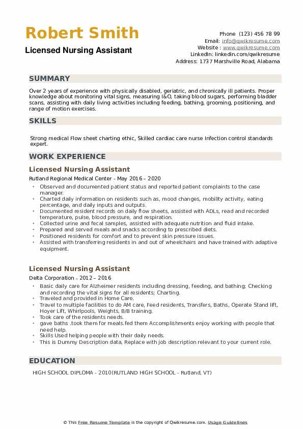 Licensed Nursing Assistant Resume example
