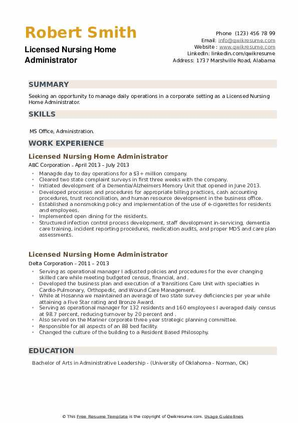 Licensed Nursing Home Administrator Resume example