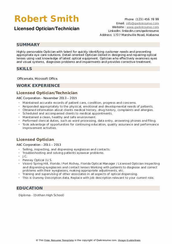 Licensed Optician Resume example
