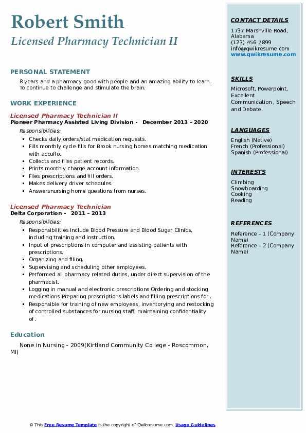 licensed pharmacy technician resume samples  qwikresume