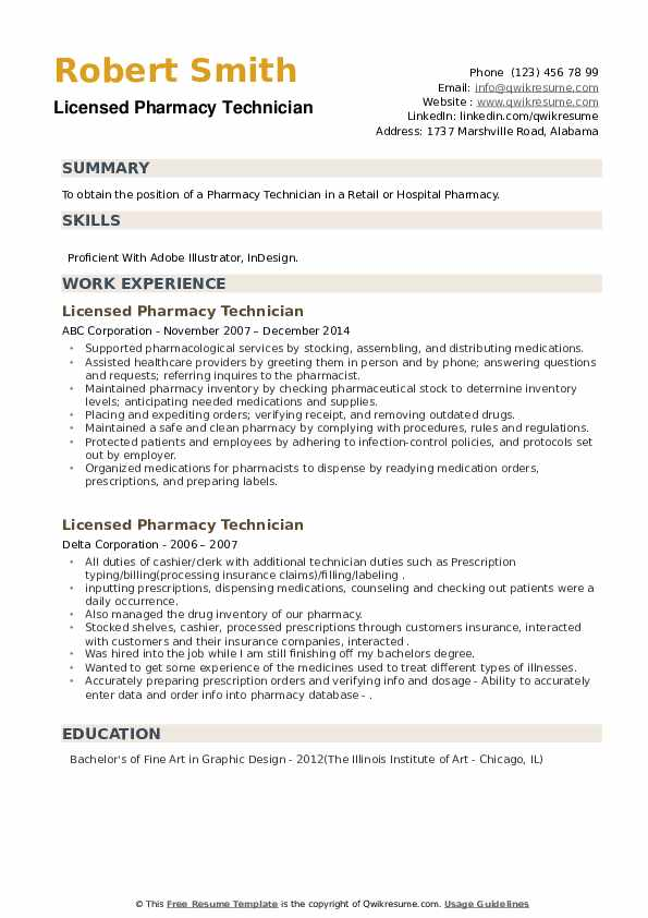 Licensed Pharmacy Technician Resume example