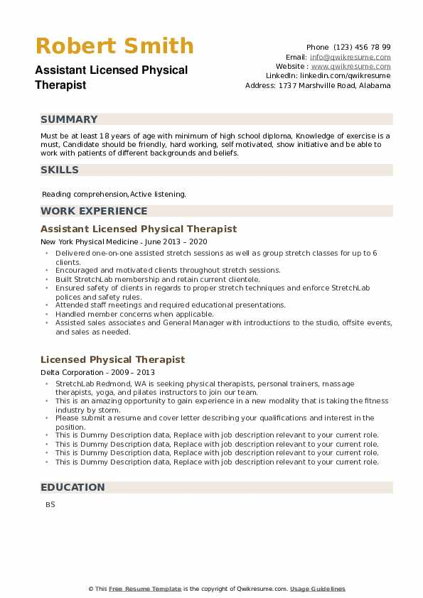 Licensed Physical Therapist Resume example