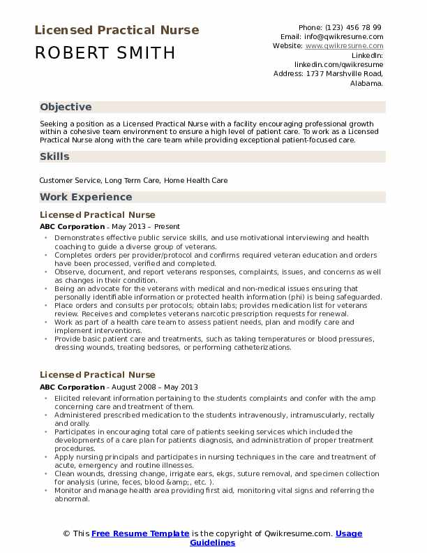 Licensed Practical Nurse Resume Example