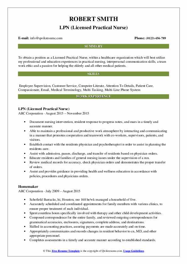 LPN (Licensed Practical Nurse) Resume Example