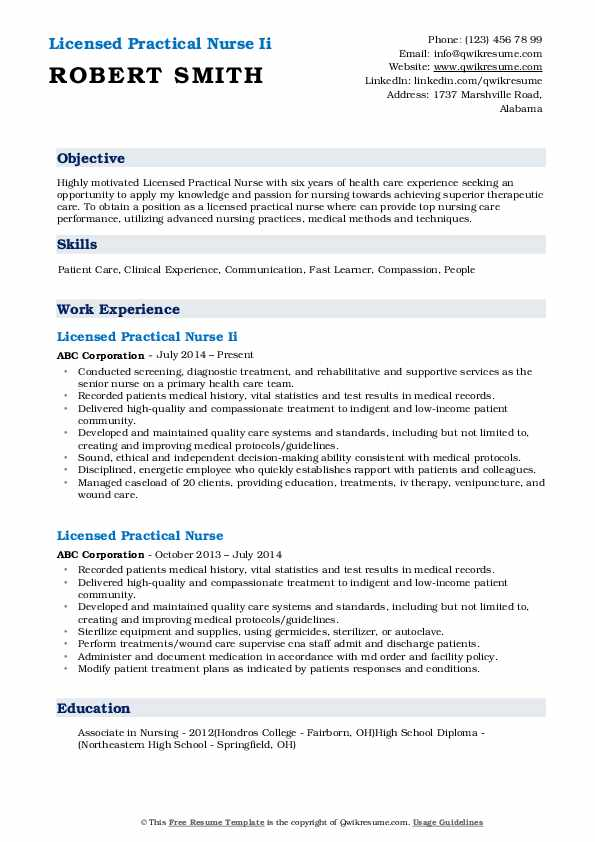 Licensed Practical Nurse Ii Resume Format