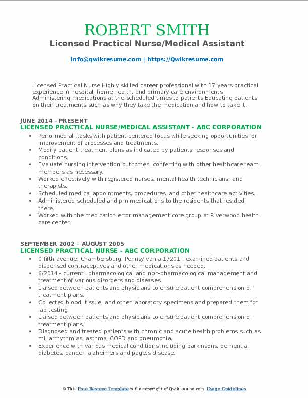 Licensed Practical Nurse/Medical Assistant Resume Format