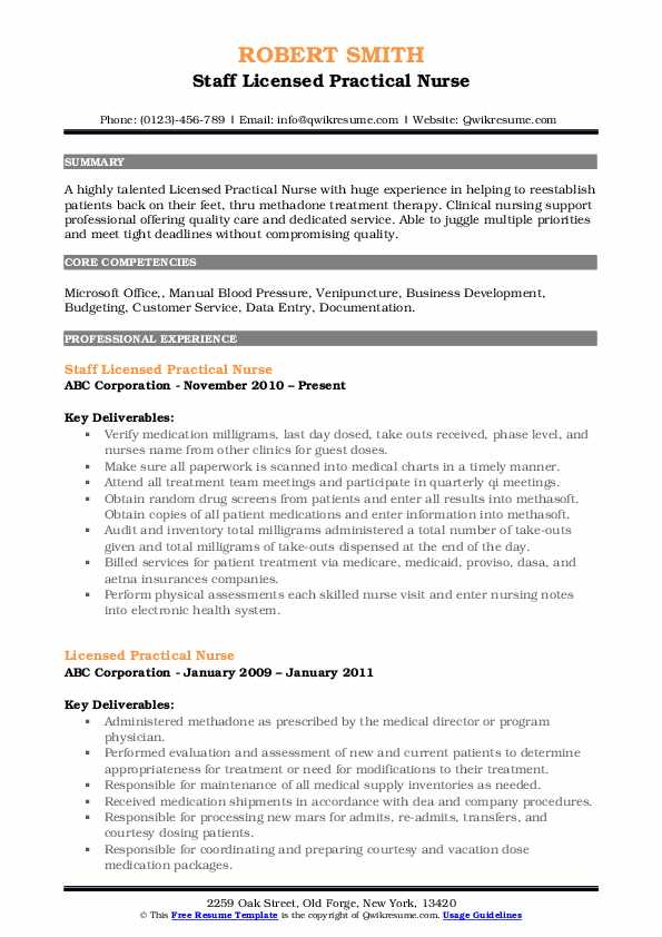 Staff Licensed Practical Nurse Resume Sample
