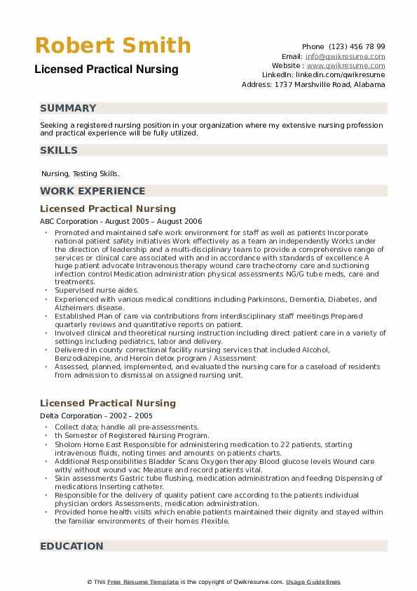 Licensed Practical Nursing Resume example