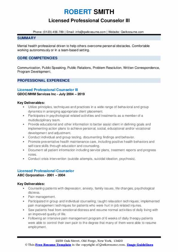 Licensed Professional Counselor III Resume Model