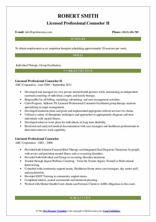 Licensed Professional Counselor II Resume Template