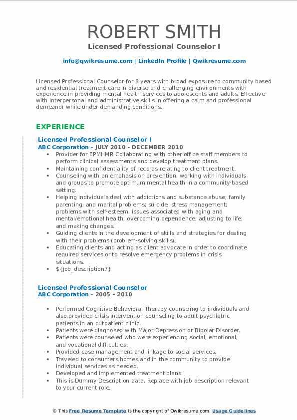Licensed Professional Counselor I Resume Format