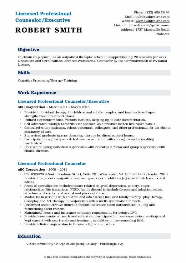 Licensed Professional Counselor/Executive Resume Model