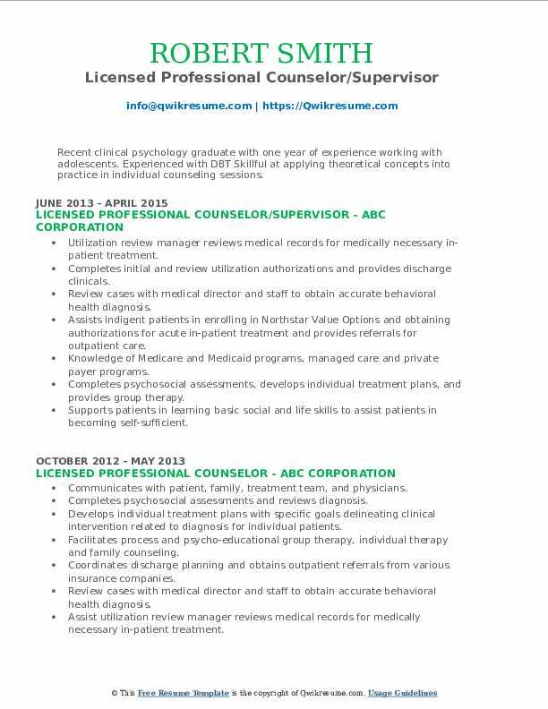 Licensed Professional Counselor/Supervisor Resume Model
