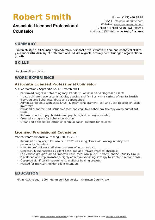 Associate Licensed Professional Counselor Resume Template