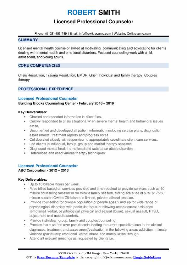 licensed professional counselor resume samples