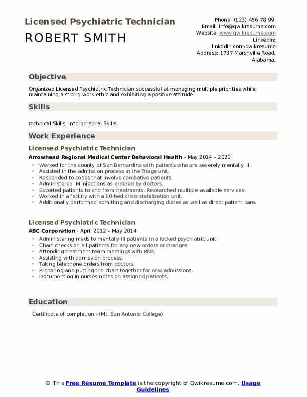 Licensed Psychiatric Technician Resume Samples Qwikresume