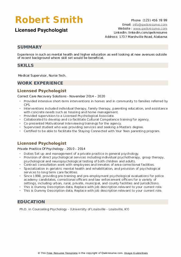 Licensed Psychologist Resume example