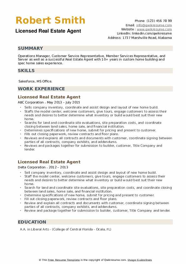 Licensed Real Estate Agent Resume example