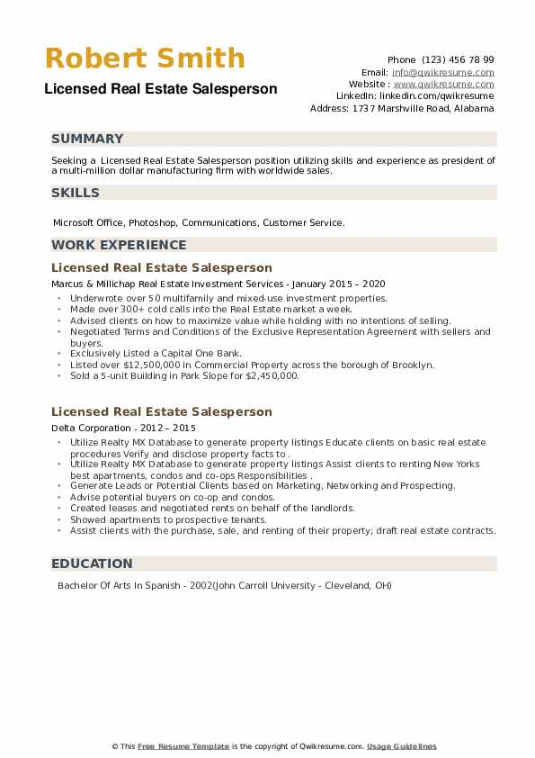 Licensed Real Estate Salesperson Resume example