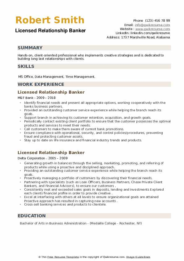 Licensed Relationship Banker Resume example