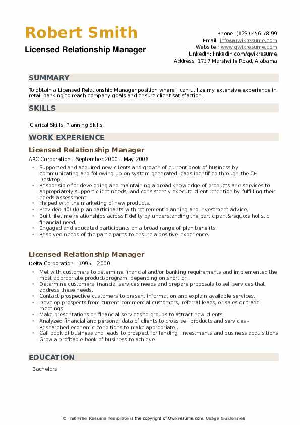 Licensed Relationship Manager Resume example