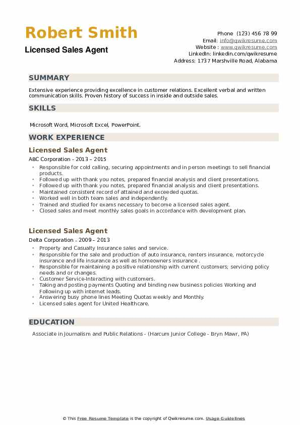 Licensed Sales Agent Resume example