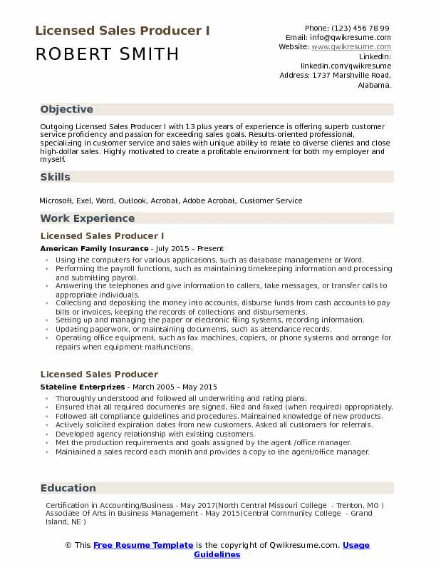 Licensed Sales Producer I Resume Template