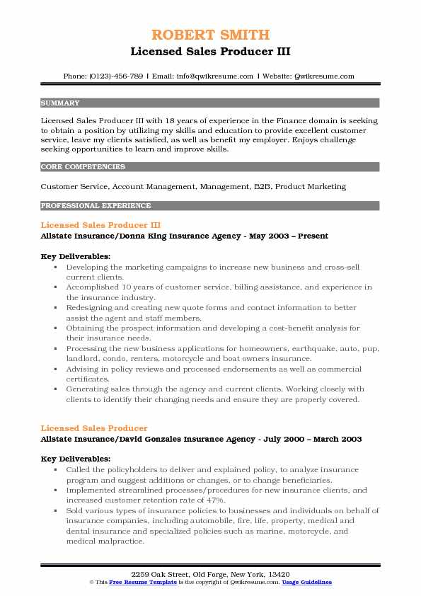 Licensed Sales Producer III Resume Format