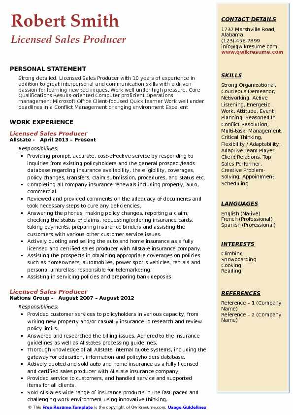 Licensed Sales Producer Resume Model