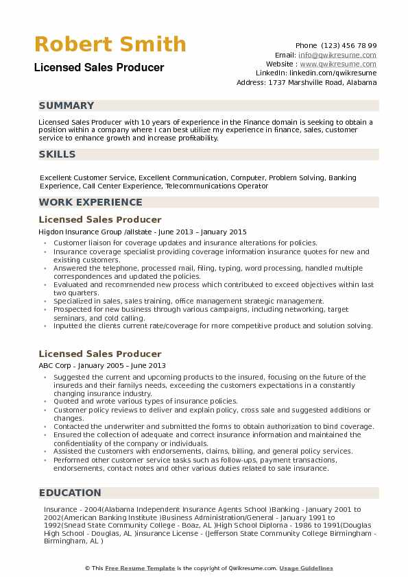 Licensed Sales Producer Resume example