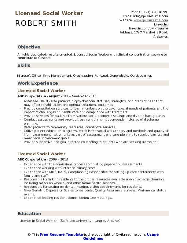 licensed social worker resume samples  qwikresume