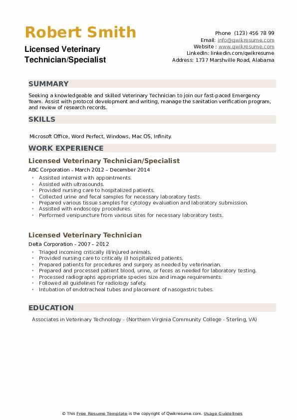 Licensed Veterinary Technician Resume example