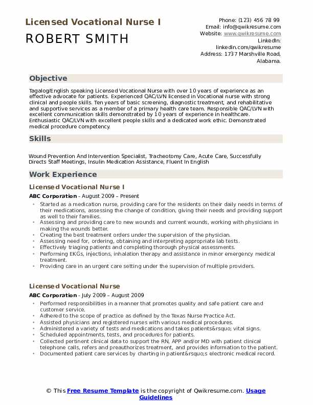 Licensed Vocational Nurse I Resume Template