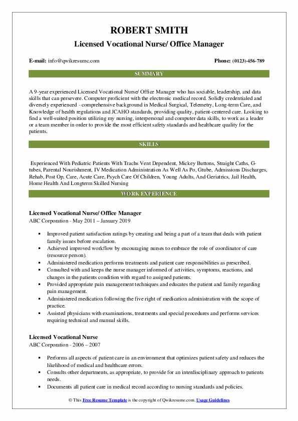 Licensed Vocational Nurse/ Office Manager Resume Template