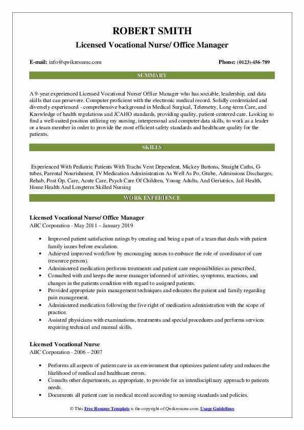 Licensed Vocational Nurse/ Office Manager Resume Model