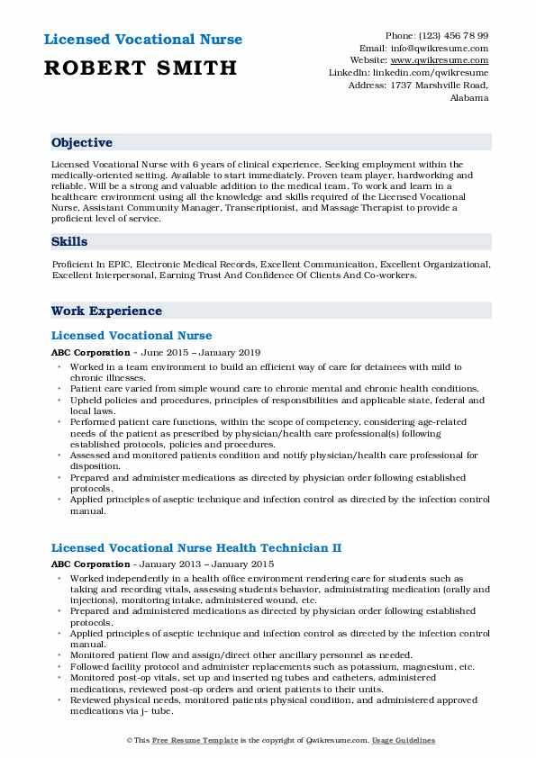 Licensed Vocational Nurse Resume Model