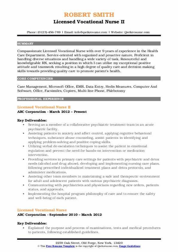 Licensed Vocational Nurse II Resume Sample