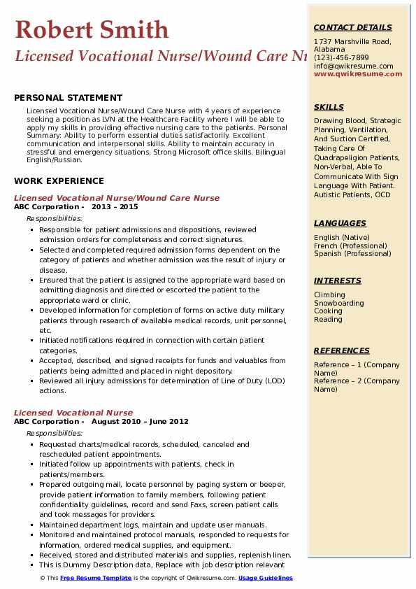 Licensed Vocational Nurse/Wound Care Nurse Resume Format