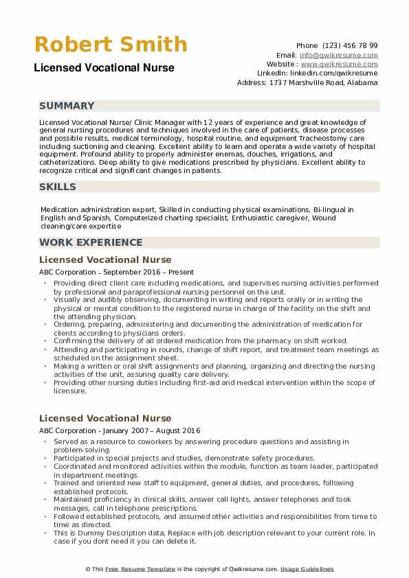 Licensed Vocational Nurse Resume example