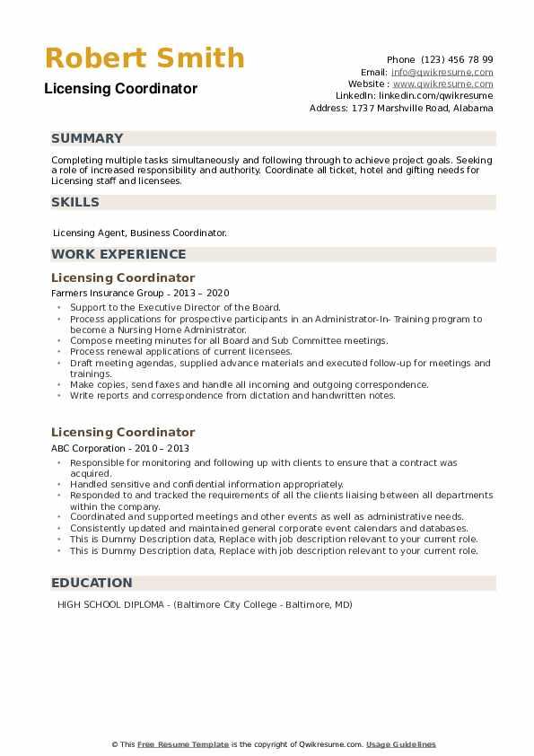Licensing Coordinator Resume example