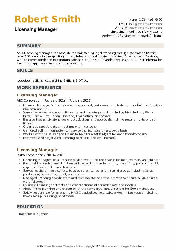 Licensing Manager Resume example