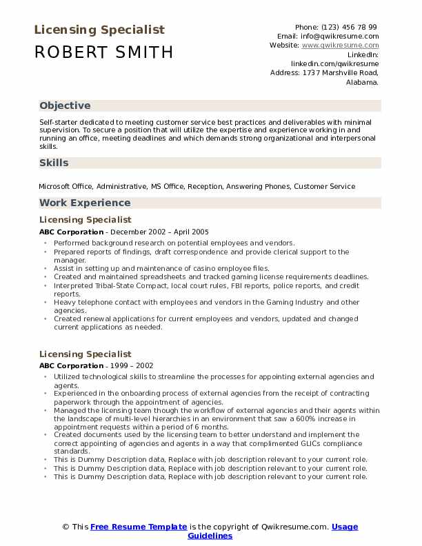 Licensing Specialist Resume example