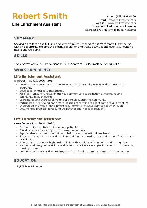 Life Enrichment Assistant Resume example