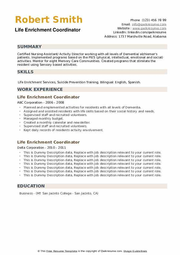 Life Enrichment Coordinator Resume example