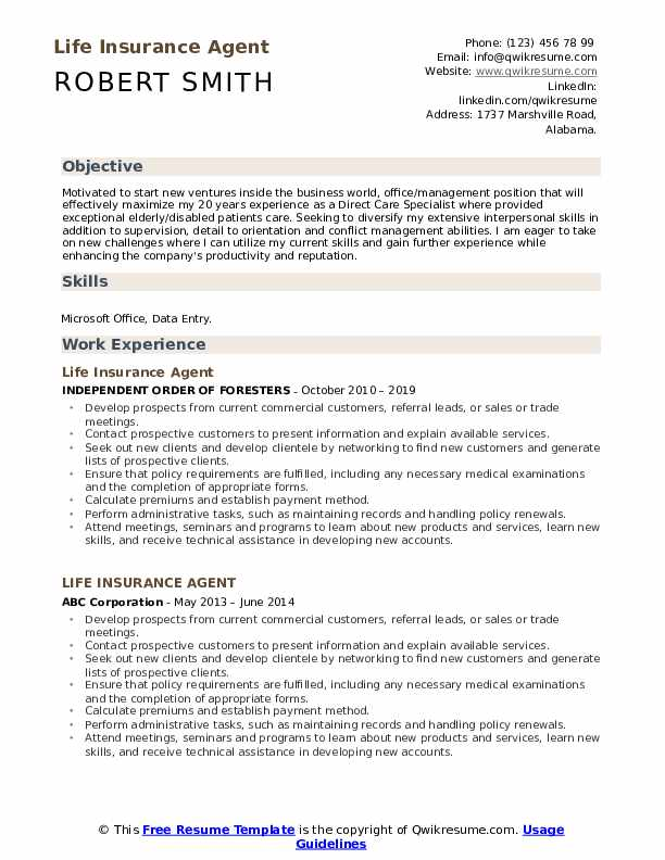 Life Insurance Agent Resume Example