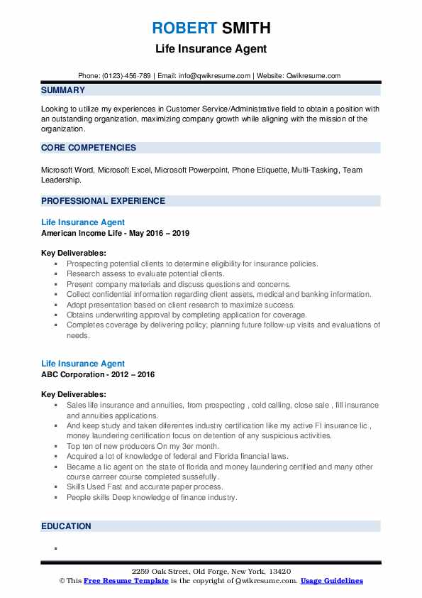 Life Insurance Agent Resume Template