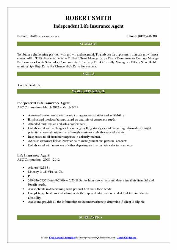 Independent Life Insurance Agent Resume Template