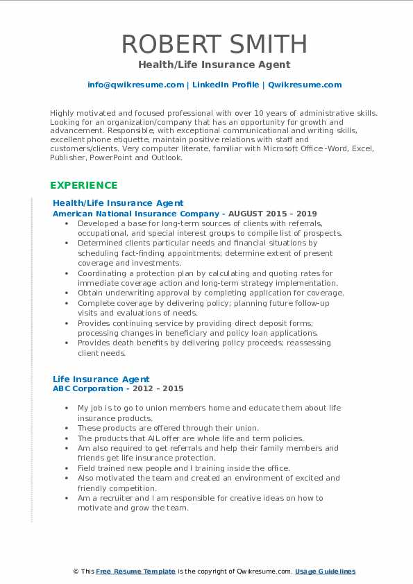 Health/Life Insurance Agent Resume Example