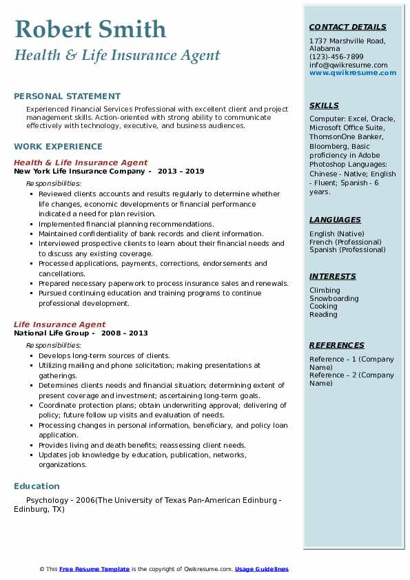 Health & Life Insurance Agent Resume Example